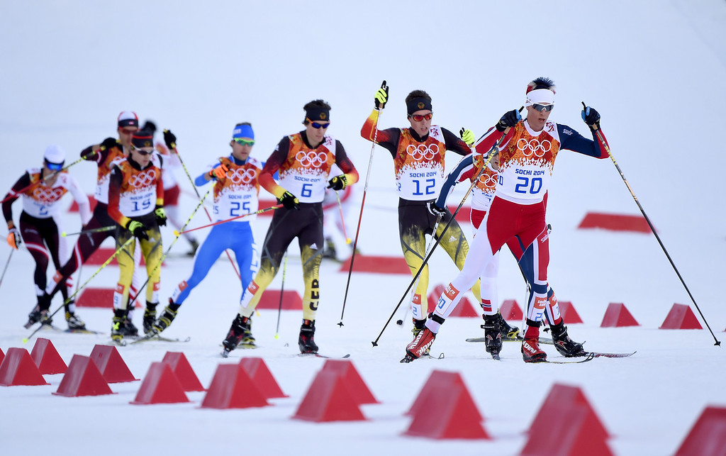 . Magnus Krog of Norway (20) leads the group during the Nordic Combined Individual Gundersen Normal Hill and 10km Cross Country on day 5 of the Sochi 2014 Winter Olympics at the RusSki Gorki Nordic Combined Skiing Stadium on February 12, 2014 in Sochi, Russia.  (Photo by Lars Baron/Getty Images)