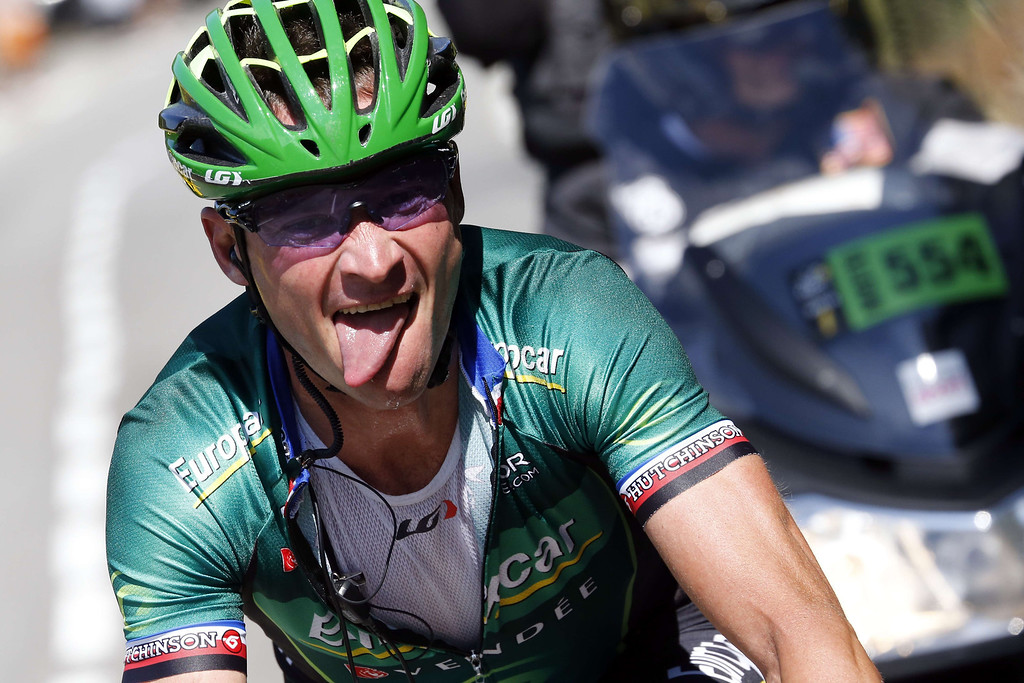 . France\'s Thomas Voeckler rides during the 156 km second stage of the 100th edition of the Tour de France cycling race on June 30, 2013 between Bastia and Ajaccio, on the French Mediterranean Island of Corsica.    JOEL SAGET/AFP/Getty Images