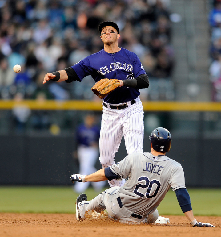 . Colorado Rockies shortstop Troy Tulowitzki (2) throws to first after forcing out Tampa Bay Rays\' Matt Joyce (20) at second, but does not complete the double play on Ben Zobrist during the third inning of a baseball game Saturday, May 4, 2013, in Denver. (AP Photo/Jack Dempsey)