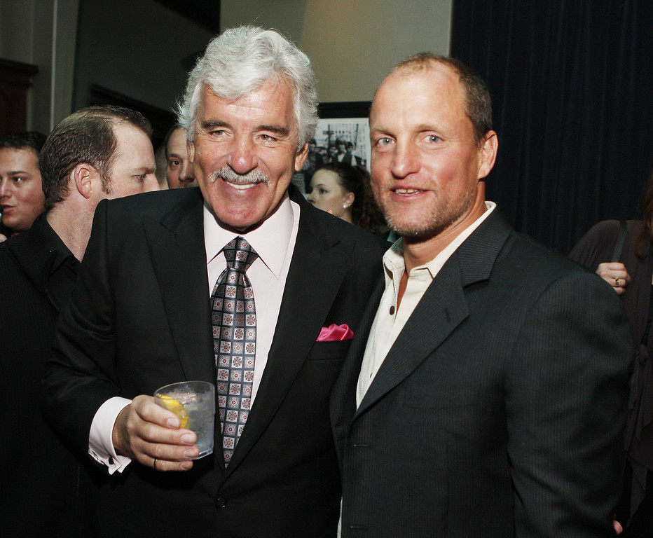 ". Actors Dennis Farina (L) and Woody Harrelson pose at the afterparty for the premiere of Anchor Bay\'s ""The Grand\"" at the Cabana Club on March 5, 2008 in Los Angeles, California. (Photo by Kevin Winter/Getty Images)"
