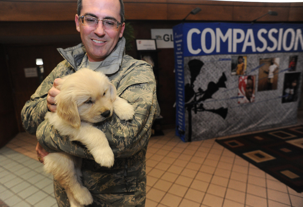 . LONGMONT, CO - OCTOBER 29:  Darin Overstreet, with the Colorado National Guard, holds 5 week old Chinook  at Life Bridge Community Church in Longmont, Co on October 29, 2013. (at right is Melissa Garcia.)  Chinook was born just a few days after the flood.  Her mother was taken out of the Pinewood Springs area via a Chinook helicopter to escape the floods.  Because of this dramatic effort to get the dog to the vet before she gave birth Geri and her husband named this puppy Chinook.  (Photo By Helen H. Richardson/ The Denver Post)