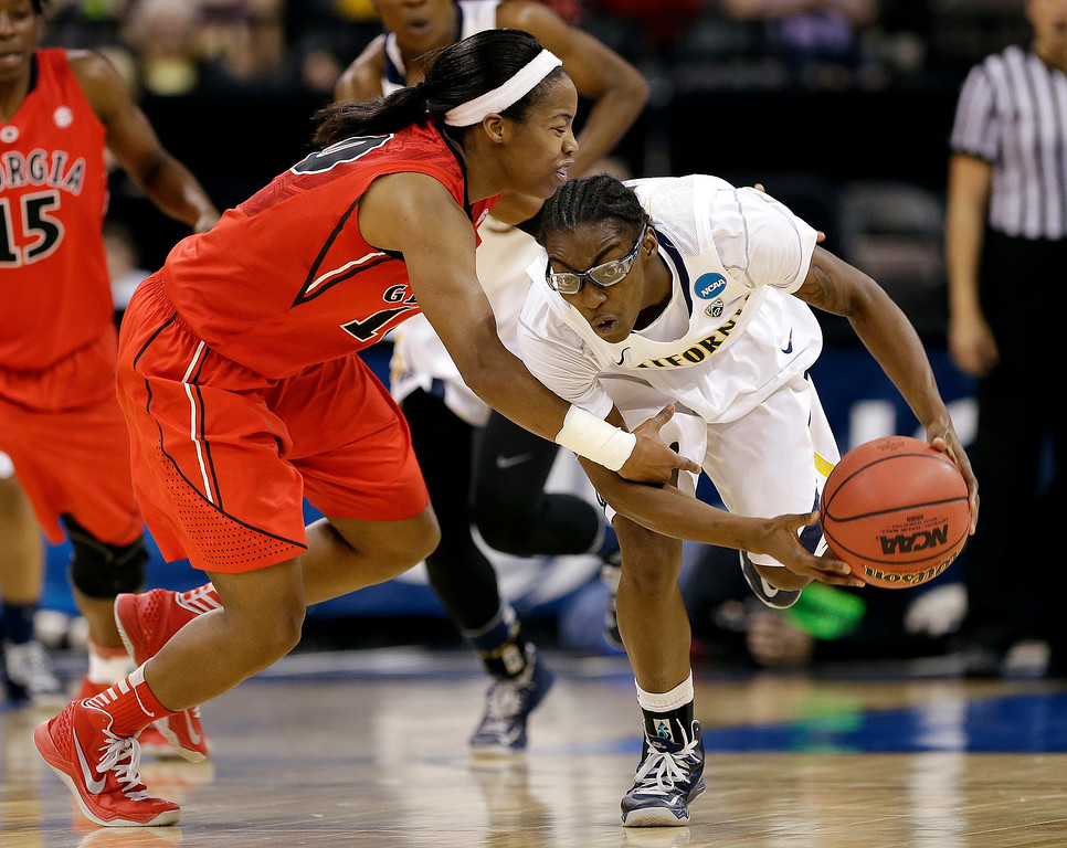. California\'s Eliza Pierre, right, is fouled by Georgia\'s Jasmine James during the second half in a regional final in the NCAA women\'s college basketball tournament, Monday, April 1, 2013, in Spokane, Wash. (AP Photo/Elaine Thompson)