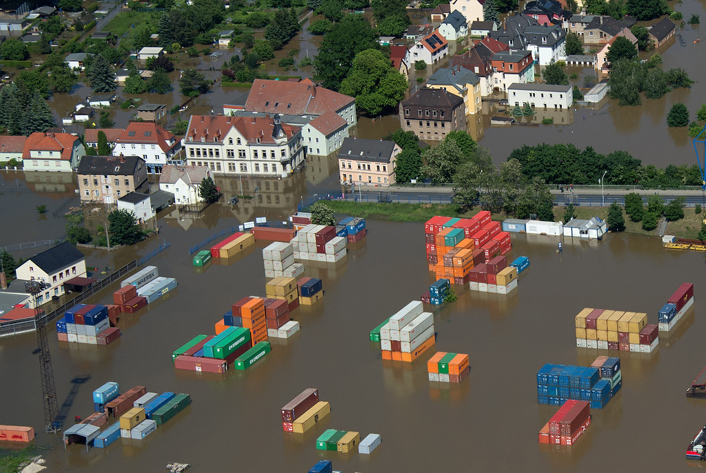 . Aerial view shows a flooded container storage facility in Riesa, eastern Germany, on June 5, 2013.  AFP PHOTO / JOHANNES  EISELE/AFP/Getty Images