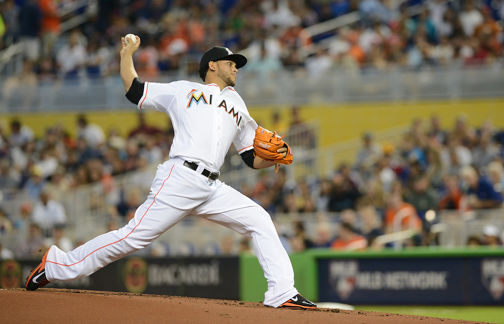 . Pitcher Henderson Alvarez #37 of the Miami Marlins throws against the Detroit Tigers at Marlins Park on September 29, 2013 in Miami, Florida. Alvarez pitched a no-hitter on a walk-off wild pitch. The Marlins beat the Tigers 1-0. (Photo by JasonWalk Arnold/Getty Images)
