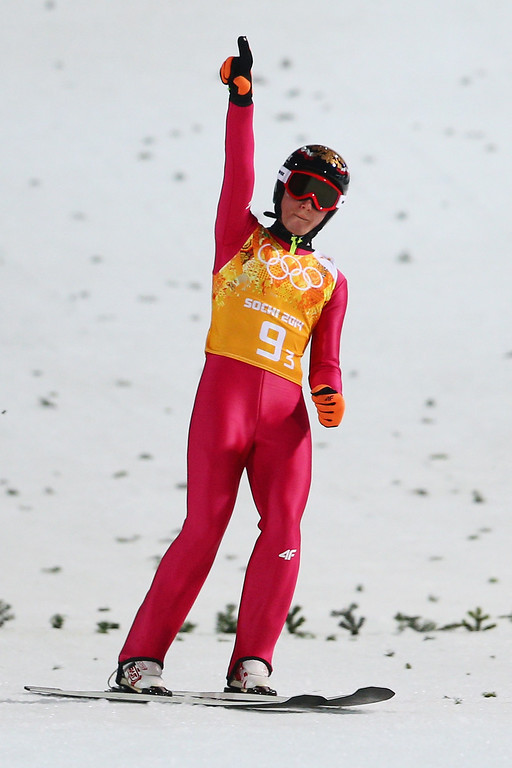 . Jan Ziobro of Poland reacts during the Men\'s Team Ski Jumping final round on day 10 of the Sochi 2014 Winter Olympics at the RusSki Gorki Ski Jumping Center on February 17, 2014 in Sochi, Russia.  (Photo by Paul Gilham/Getty Images)