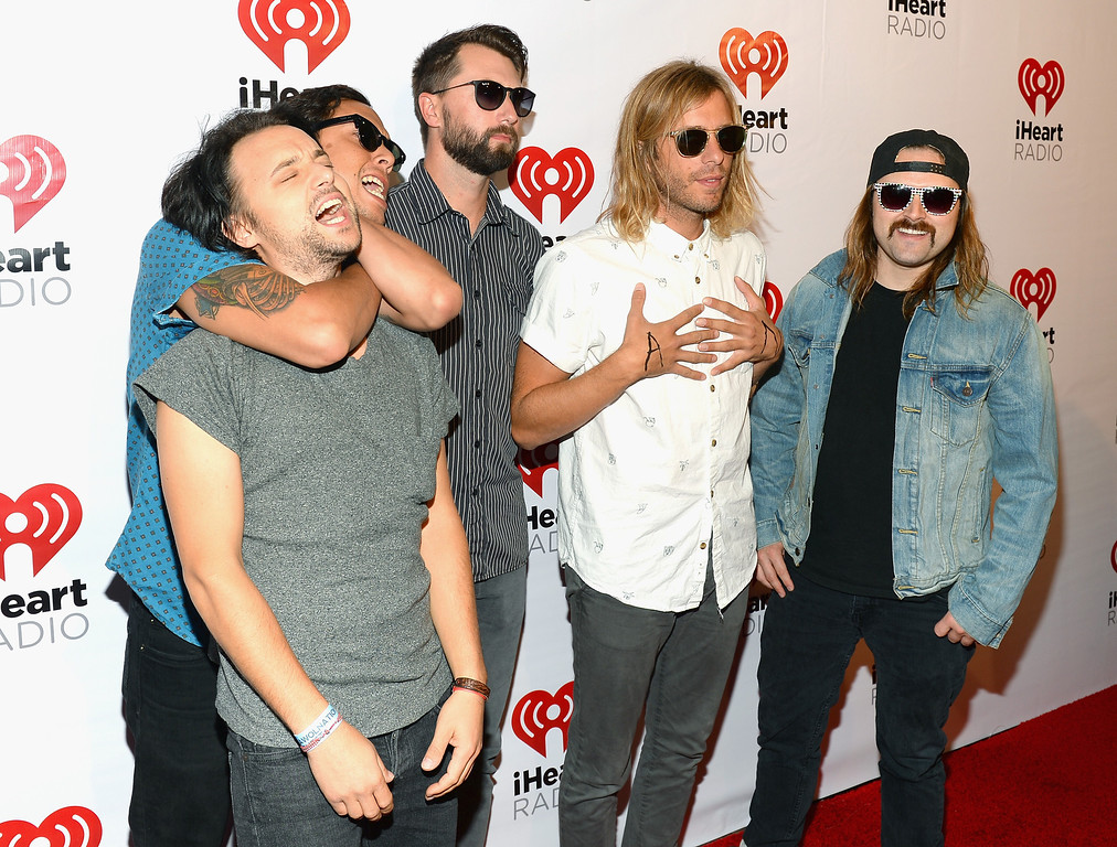 . (L-R) Christopher Thorn, Kenny Carkeet, Drew Stewart, Aaron Bruno and David Amezcua of Awolnation attend the iHeart Radio Music Festival Village on September 21, 2013 in Las Vegas, Nevada.  (Photo by Mark Davis/Getty Images for Clear Channel)