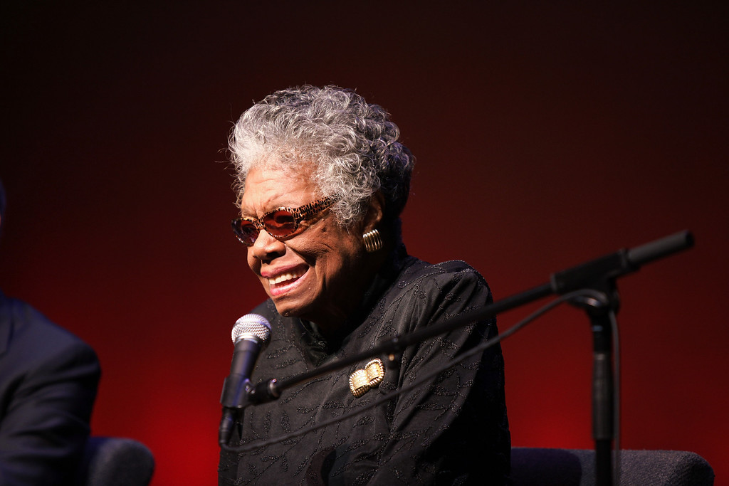 . American autobiographer and poet Dr. Maya Angelou visits The Schomburg Center for Research in Black Culture to announce the acquisition of documents from her 40-year career on October 29, 2010 in New York City.  (Photo by Neilson Barnard/Getty Images)