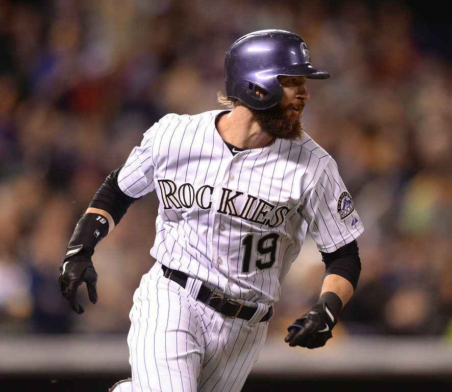 . DENVER, CO - MAY 15: Colorado batter Charlie Blackmon singled in what would be the winning run in the seventh inning. The Colorado Rockies defeated the San Diego Padres 3-1 at Coors Field  Friday night, May 16, 2014. (Photo by Karl Gehring/The Denver Post)