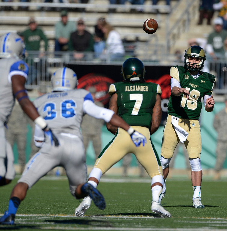 . Colorado State QB, Garrett Grayson, finds RB, Donnell Alexander, in the first quarter against Air Force at Hughes Stadium Saturday afternoon, November 30, 2013. The Rams won 58-13. (Photo By Andy Cross/The Denver Post)