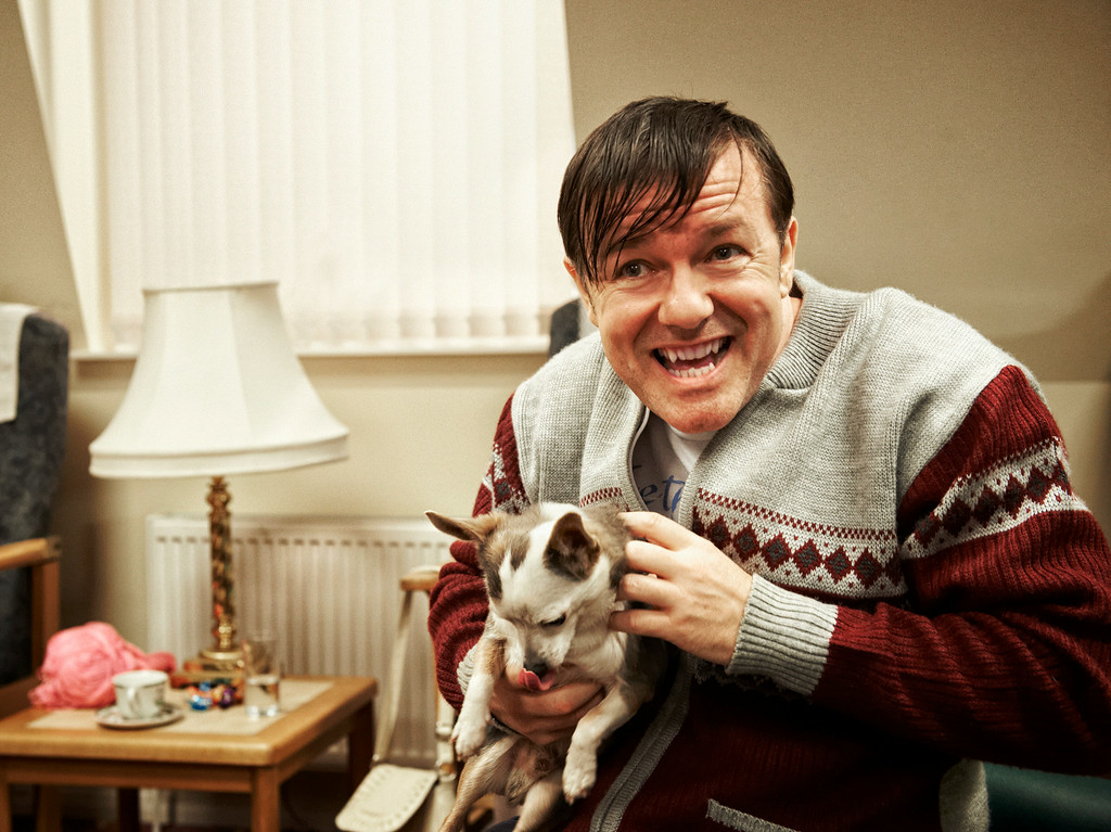 ". This image released by Netflix shows Ricky Gervais in a scene from ""Derek.\"" Gervais was nominated for an Emmy Award for best actor in a comedy on Thursday, July 10, 2014. The 66th Primetime Emmy Awards will be presented Aug. 25 at the Nokia Theatre in Los Angeles. (AP Photo/Netflix)"