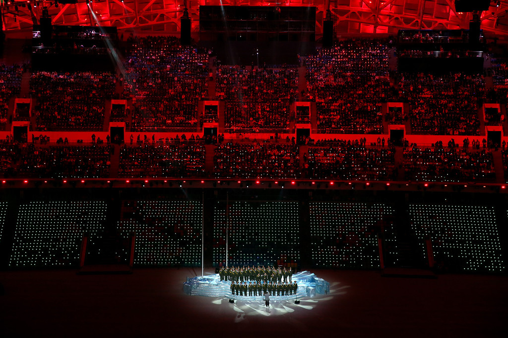 ". The Ministry of Internal Affairs choir sings ""Get Lucky\"" during the pre-show of the Opening Ceremony of the Sochi 2014 Winter Olympics at Fisht Olympic Stadium on February 7, 2014 in Sochi, Russia.  (Photo by Quinn Rooney/Getty Images)"