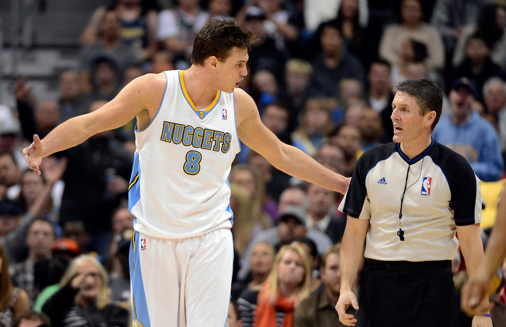 . DENVER, CO. - FEBRUARY 05: Danilo Gallinari (8) of the Denver Nuggets argues with referee Scott Foster during the fourth quarter February 05, 2013 at Pepsi Center. Danilo Gallinari was called for a technical. The Denver Nuggets defeated the Milwaukee Bucks 112-104 in NBA action. (Photo By John Leyba/The Denver Post)