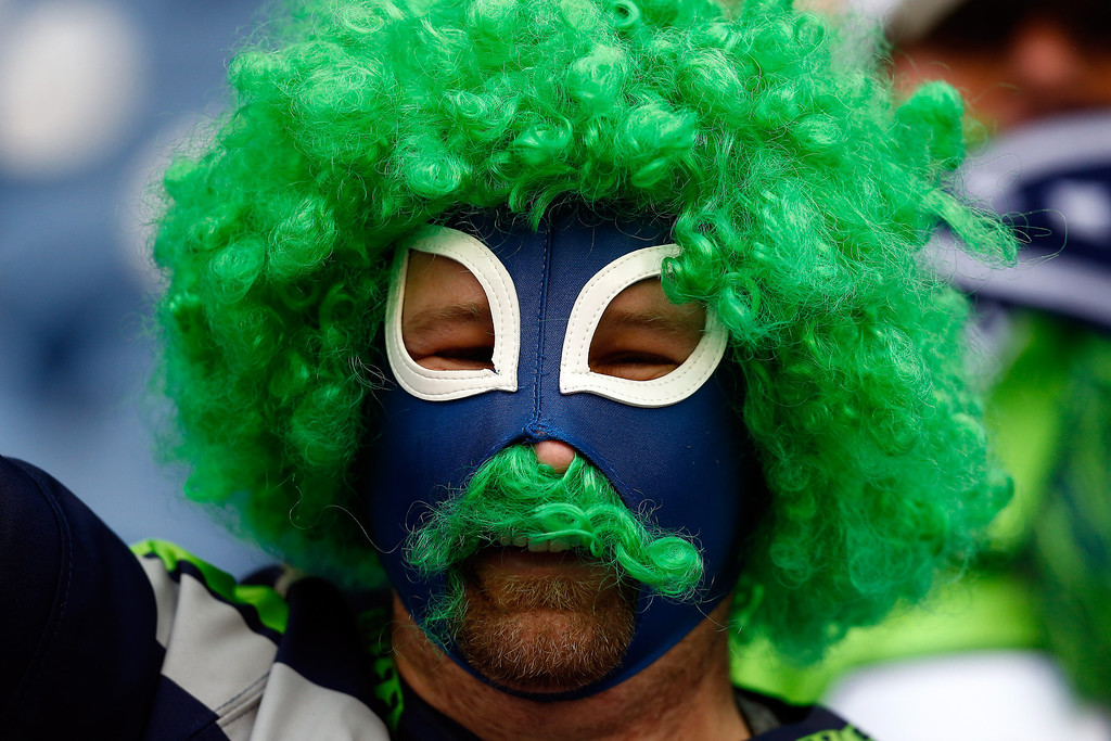 . A Seattle Seahawks fan looks on before the Seahawks take on the San Francisco 49ers during the 2014 NFC Championship at CenturyLink Field on January 19, 2014 in Seattle, Washington.  (Photo by Tom Pennington/Getty Images)