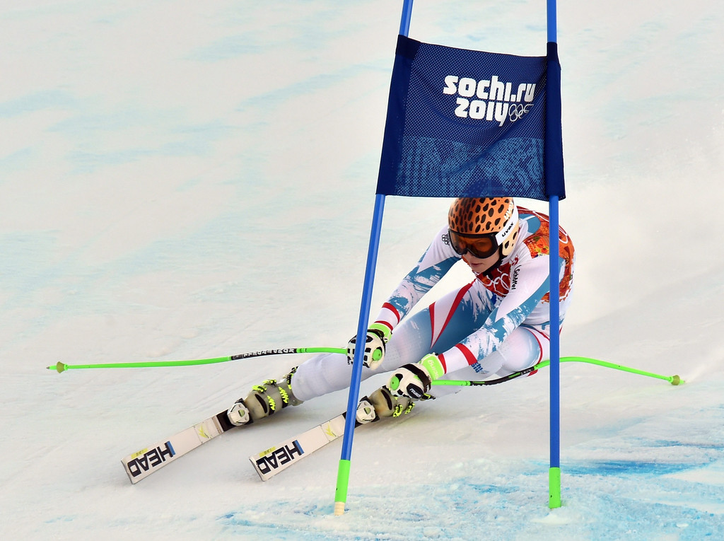 . Anna Fenninger of Austria in action during the Downhill portion of the Women\'s Super Combined race at the Rosa Khutor Alpine Center during the Sochi 2014 Olympic Games, Krasnaya Polyana, Russia, 10 February 2014.  EPA/JUSTIN LANE