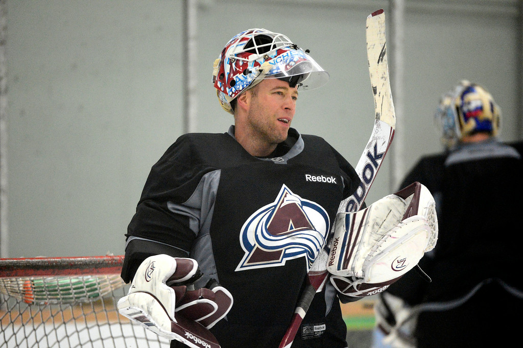 . Colorado Avalanche J.S. Giguere (35) prepares for drills during practice at  training camp Tuesday, January 15, 2013 at Family Sports Center. John Leyba, The Denver Post