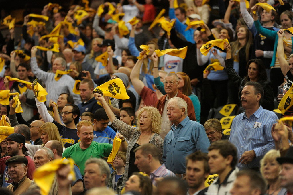 . DENVER, CO. - NOVEMBER 1:  Denver fans welcomed the team for the home opener Friday night. The Denver Nuggets hosted the Portland Trail Blazers Friday night, November 1, 2013 at the Pepsi Center.  Photo By Karl Gehring/The Denver Post