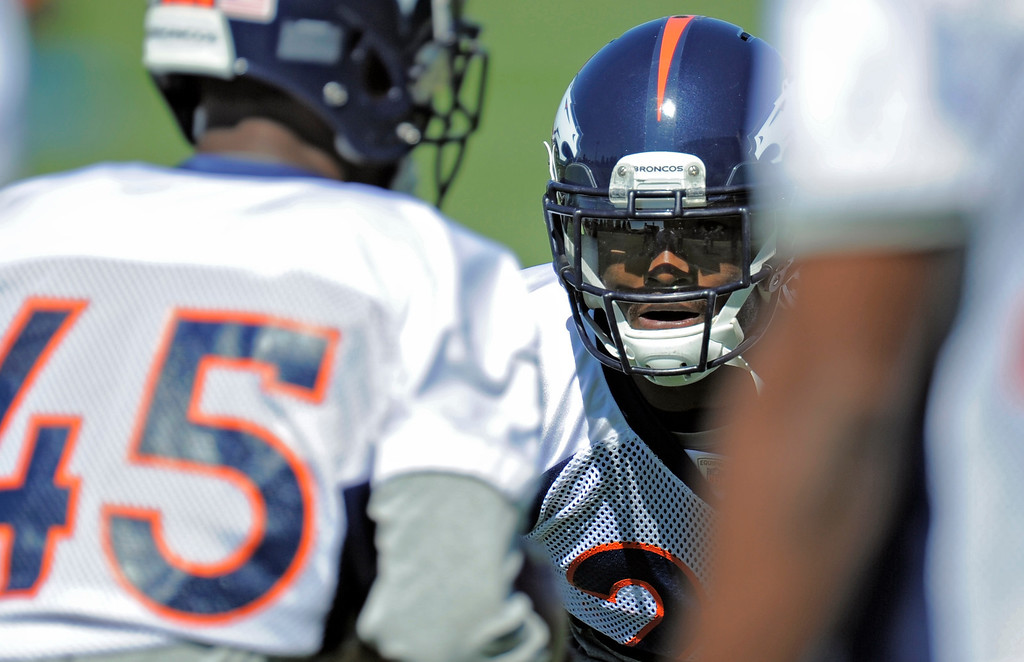 . Cornerback Champ Bailey (24) of the Denver Broncos runs through drills during practice September 25, 2013 at Dove Valley. (Photo by John Leyba/The Denver Post)