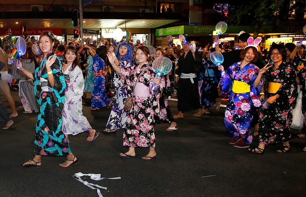 ". Members of the group \""Kimonomania - Kimonomanio\"" participate in the 35th annual Sydney Gay and Lesbian Mardi Gras parade March 2, 2013.         REUTERS/Tim Wimborne"