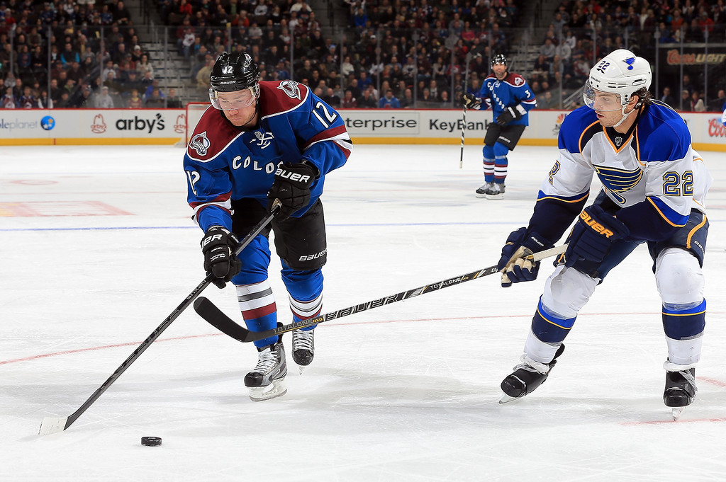 . Chuck Kobasew #12 of the Colorado Avalanche controls the puck against Kevin Shattenkirk #22 of the St. Louis Blues at the Pepsi Center on February 20, 2013 in Denver, Colorado.  (Photo by Doug Pensinger/Getty Images)