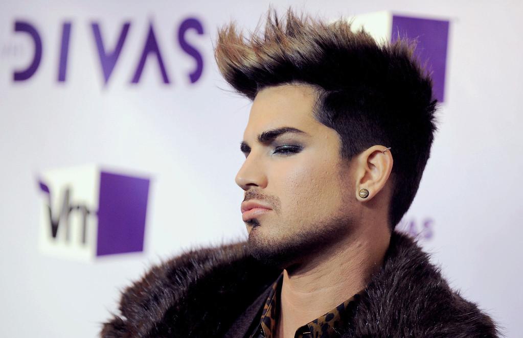 . Adam Lambert arrives at VH1 Divas on Sunday, Dec. 16, 2012, at the Shrine Auditorium in Los Angeles. (Photo by Jordan Strauss/Invision/AP)
