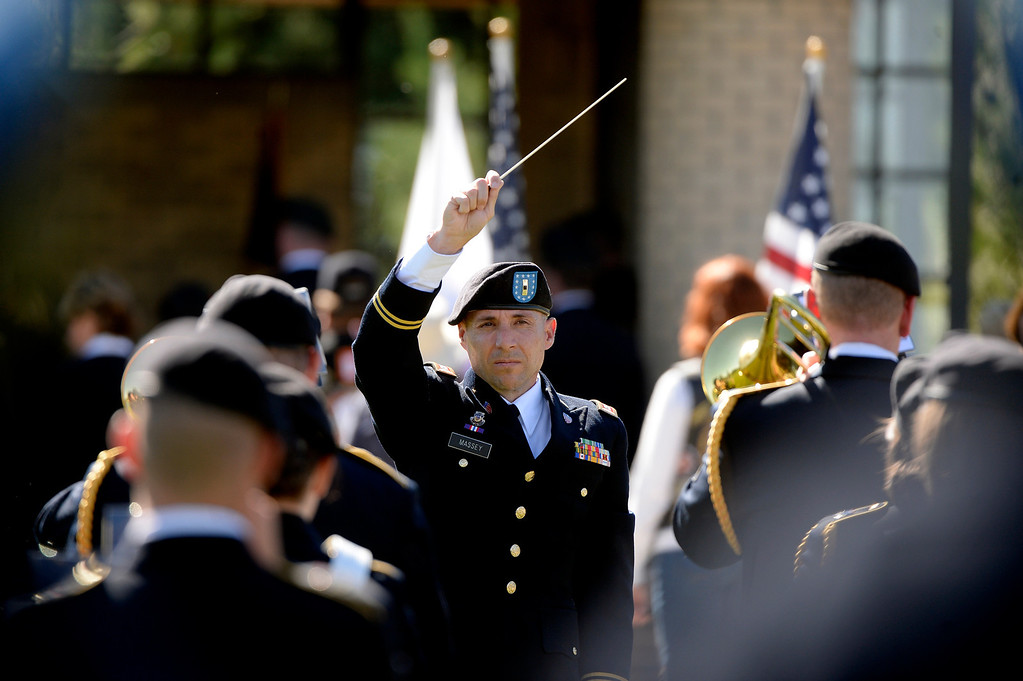 . DENVER, CO. - OCTOBER 02: The Colorado National Guard band plays during a burial ceremony for Special Forces Soldier Liam Nevins at Fort Logan National Cemetery in Denver,CO October 02, 2013. (Photo By Craig F. Walker / The Denver Post)