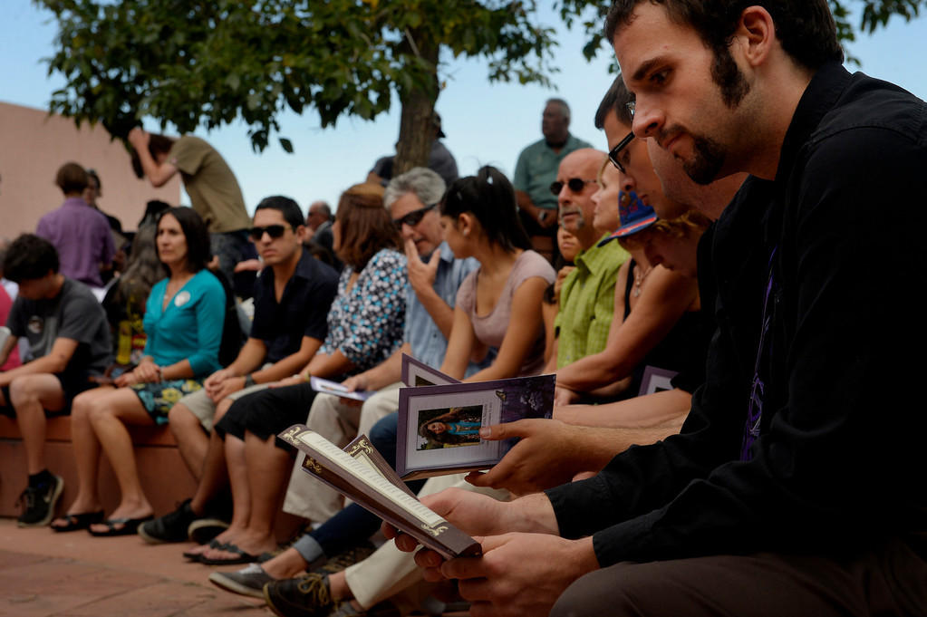 . Over 350 people joined together to honor Wesley Quinlan and Wiyanna Nelson during a memorial service  at the National Center for Atmospheric Research in Boulder, CO September 21, 2013. (Photo By Craig F. Walker / The Denver Post)