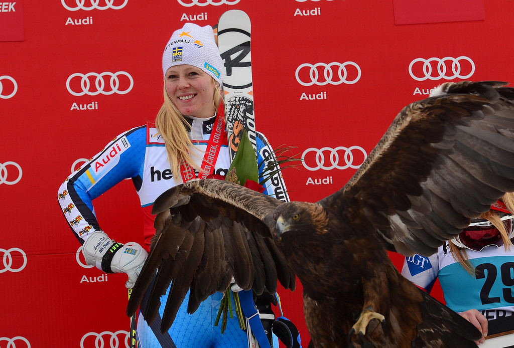 . Sweden\'s Jessica Lindell-Vikarby celebrates on the podium after winning the women\'s giant slalom at the FIS Ski World Cup in Beaver Creek, Colorado, on December 1, 2013.     EMMANUEL DUNAND/AFP/Getty Images