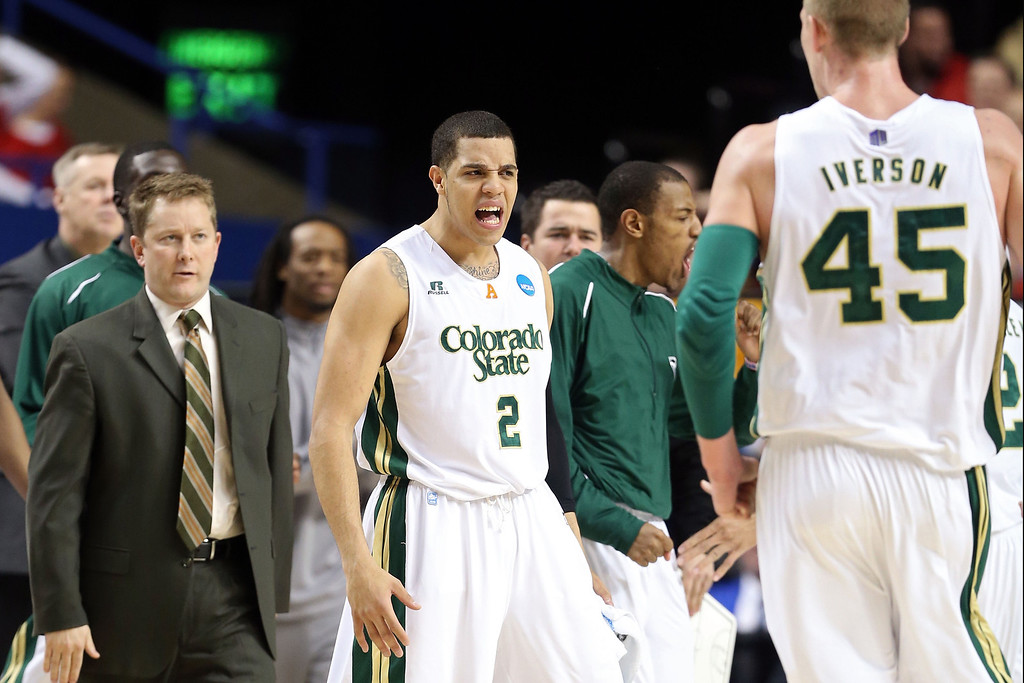 . LEXINGTON, KY - MARCH 21:  Daniel Bejarano #2 of the Colorado State Rams celebrates after s hot against the Missouri Tigers during the second round of the 2013 NCAA Men\'s Basketball Tournament at the Rupp Arena on March 21, 2013 in Lexington, Kentucky.  (Photo by Andy Lyons/Getty Images)