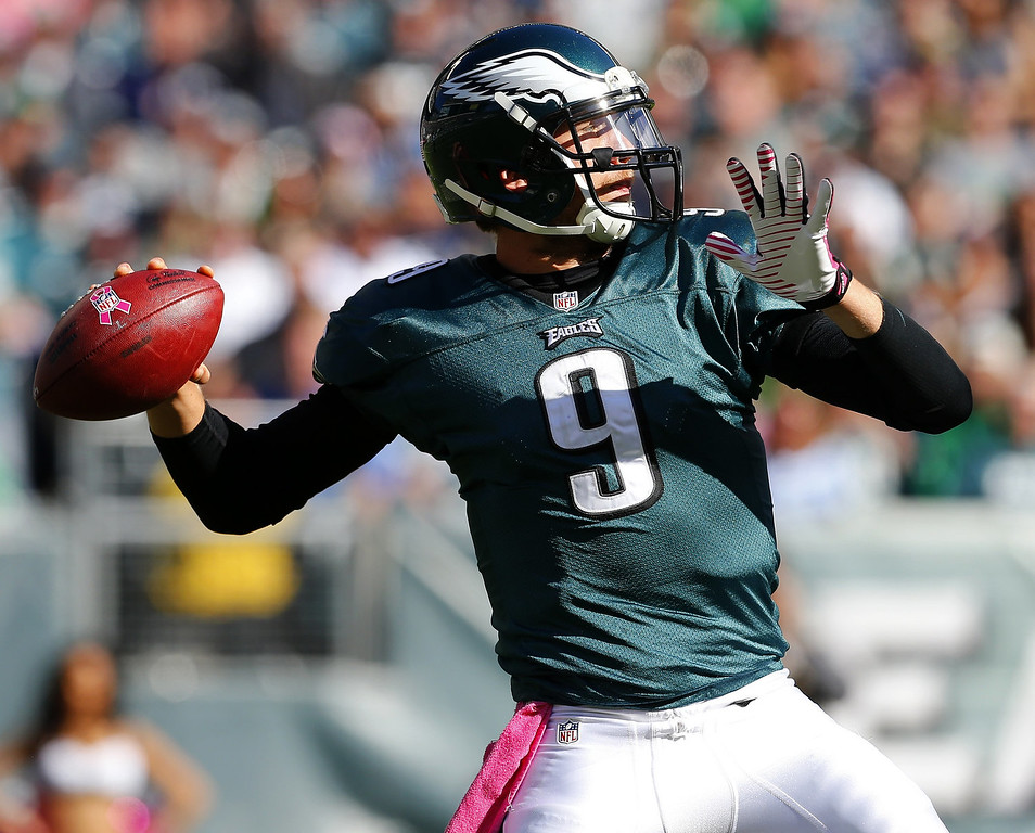 . Quarterback Nick Foles #9 of the Philadelphia Eagles looks to pass against the Dallas Cowboys in the second half during a game at Lincoln Financial Field on October 20, 2013 in Philadelphia, Pennsylvania. (Photo by Rich Schultz /Getty Images)