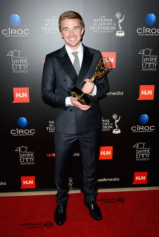 . Actor Chandler Massey poses with the Outstanding Younger Actor In A Drama Series award for \'Days of Our Lives\' in the press room during The 40th Annual Daytime Emmy Awards at The Beverly Hilton Hotel on June 16, 2013 in Beverly Hills, California.  (Photo by Mark Davis/Getty Images)