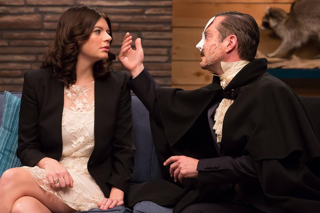 ". Casey Wilson and The Phantom (Thomas Lennon) in IFC\'s \""Comedy Bang! Bang!\""  (Photo by Chris Ragazzo/IFC)"