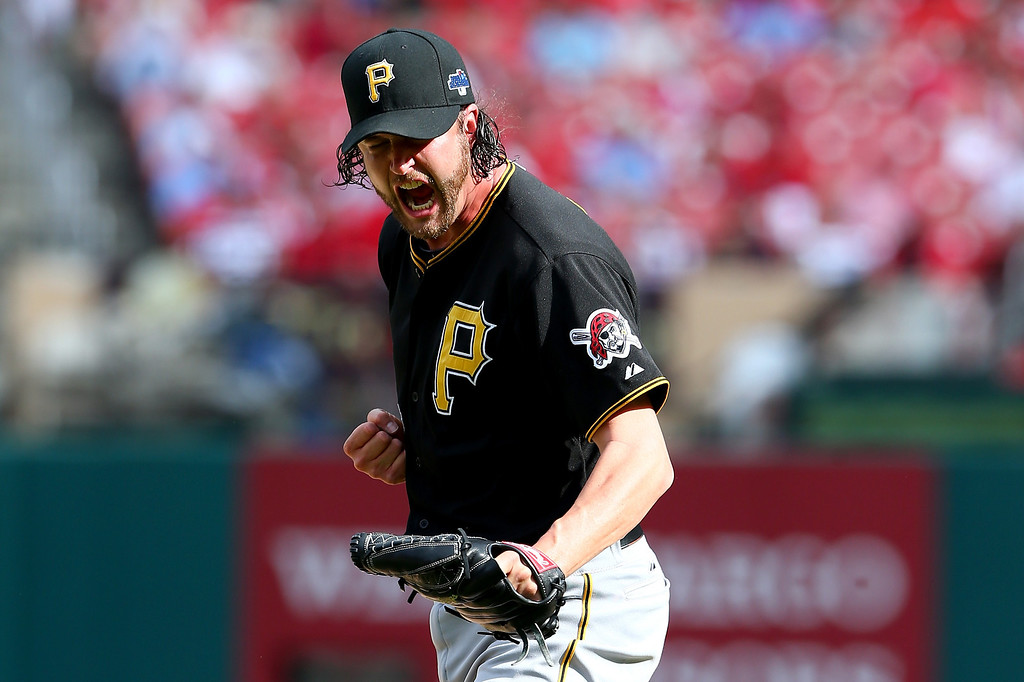 . ST LOUIS, MO - OCTOBER 04:  Pitcher Jason Grilli #39 of the Pittsburgh Pirates celebrates the Pirates 7-1 victory against the St. Louis Cardinals during Game Two of the National League Division Series at Busch Stadium on October 4, 2013 in St Louis, Missouri.  (Photo by Elsa/Getty Images)
