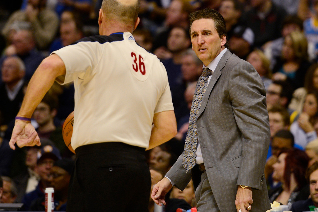 . Los Angeles Clippers head coach Vinny Del Negro questions a charging call on power forward Blake Griffin (32) during the first half at the Pepsi Center on Tuesday, January 1, 2013. AAron Ontiveroz, The Denver Post