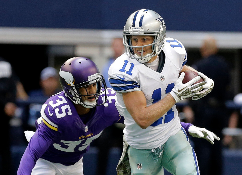 . Dallas Cowboys wide receiver Cole Beasley (11) looks for running room after grabbing a pass as Minnesota Vikings cornerback Marcus Sherels (35) attempts the tackle in the first  half of an NFL football game, Sunday, Nov. 3, 2013, in Arlington, Texas. (AP Photo/Nam Y. Huh)