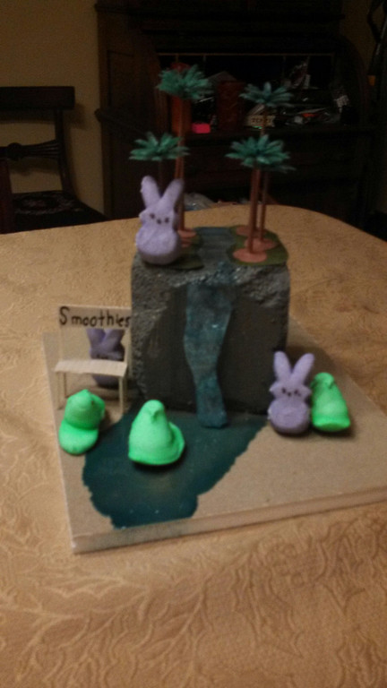. This Peeps diorama shows an unknown island that the Peeps found. Sophia Osburn
