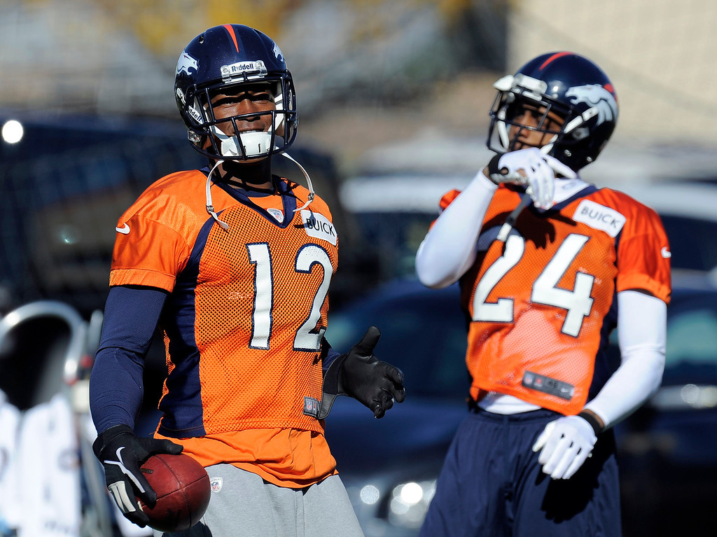 . ENGLEWOOD, CO - OCTOBER 27: Denver Broncos Damaryius Thomas (88) smiles after catching a pass during practice on October 30, 2013 at Dove Valley. The players swapped jerseys for Halloween. (Photo by John Leyba/The Denver Post)