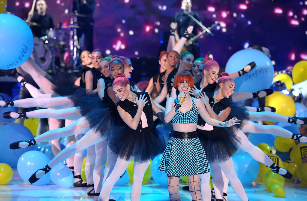 . Hayley Williams of Paramore performs at the Teen Choice Awards at the Gibson Amphitheater on Sunday, Aug. 11, 2013, in Los Angeles.(Photo by John Shearer/Invision/AP)