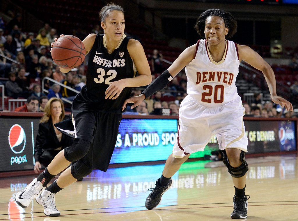 . University of Colorado\'s Arielle Roberson drives past Maiya Michel during a games against the University of Denver on Tuesday, Dec. 11, at the Magnus Arena on the DU campus in Denver.   (Jeremy Papasso/Daily Camera)