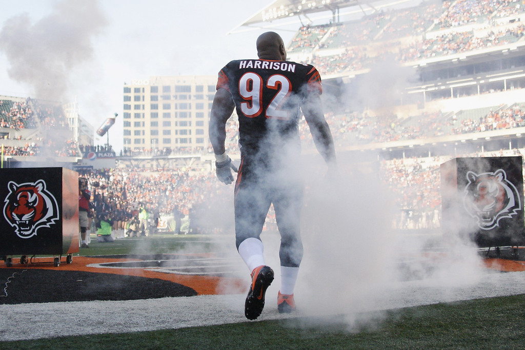 . James Harrison #92 of the Cincinnati Bengals takes the field for the game against the New York Jets at Paul Brown Stadium on October 27, 2013 in Cincinnati, Ohio. The Bengals defeated the Jets 49-9.   (Photo by John Grieshop/Getty Images)