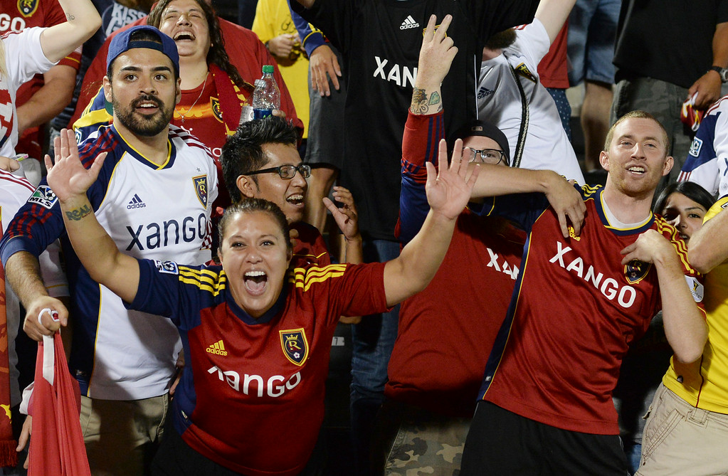 . COMMERCE CITY, CO - AUGUST 1: Salt Lake fans taunted the Rapids\' supporters after the game. Real Salt Lake defeated the Colorado Rapids 1-0 at Dick\'s Sporting Goods Park Saturday night, August 1, 2014.  Photo by Karl Gehring/The Denver Post