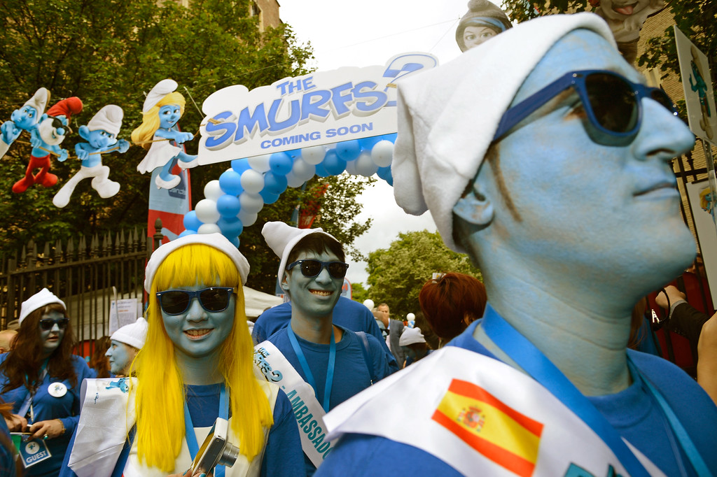 . Smurf Ambassadors take part to Global Smurfs Day celebrations on June 22, 2013 in Brussels, Belgium.  (Photo by Pascal Le Segretain/Getty Images for Sony Pictures Entertainment)
