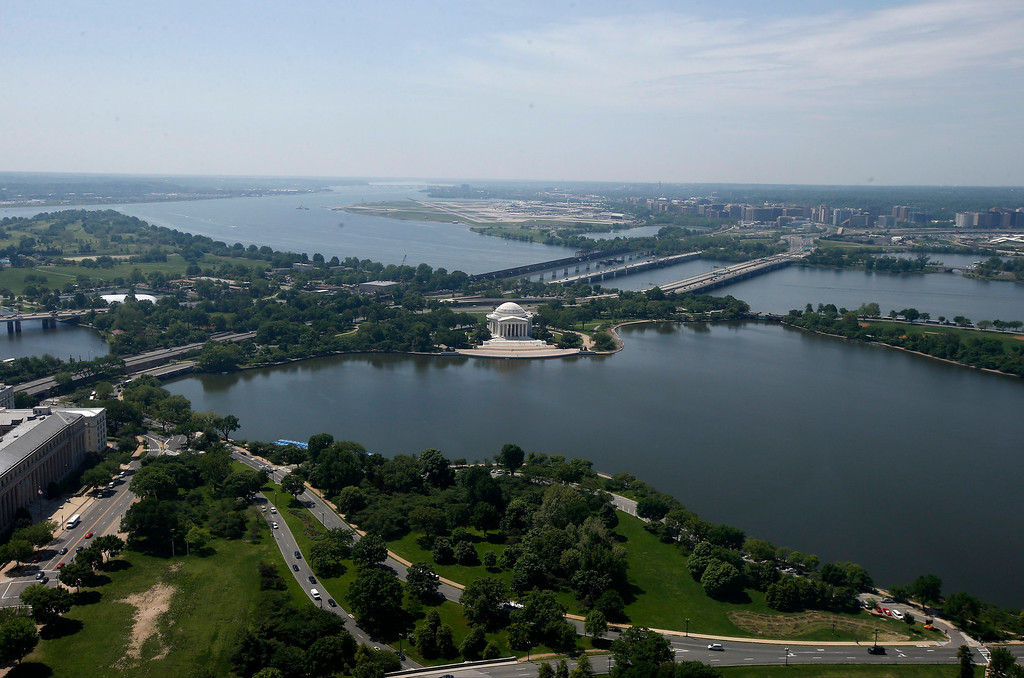 . The Jefferson Memorial and Tidal Basin are seen from the 500-foot level of the Washington Monument in Washington, Monday, May 12, 2014, as it reopens. (AP Photo)