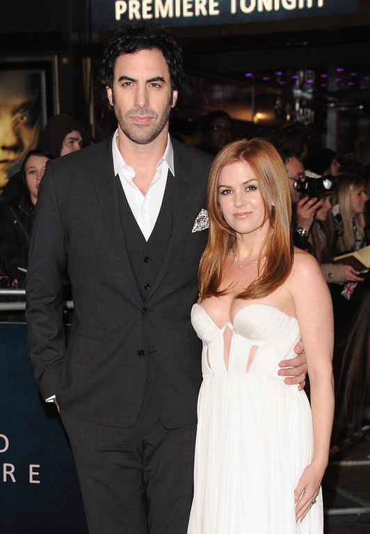 ". Actors Sasha Baron Cohen and Isla Fisher attends the ""Les Miserables\"" World Premiere at the Odeon Leicester Square on December 5, 2012 in London, England.  (Photo by Stuart Wilson/Getty Images)"