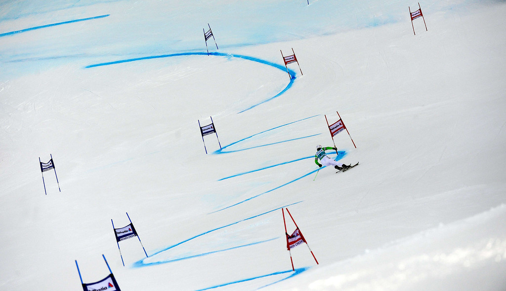 . Germany\'s Viktoria Rebensburg powers her way in the first run of the women\'s giant slalom at the FIS Ski World Cup in Beaver Creek, Colorado, December 1, 2013. AFP PHOTO/Emmanuel DunandEMMANUEL DUNAND/AFP/Getty Images