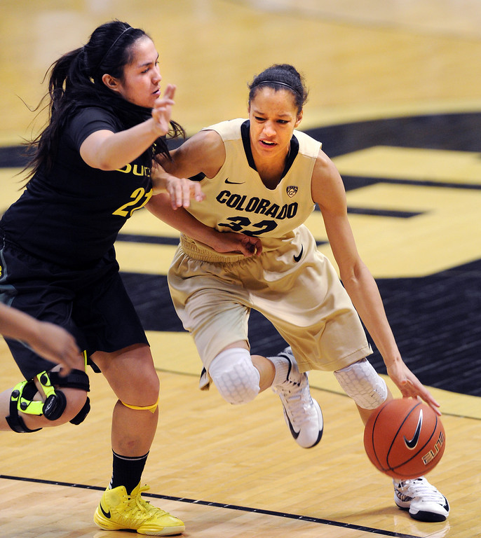 . Arielle Roberson of Colorado drives on Amanda Delgado of Oregon. Cliff Grassmick / February 10, 2013