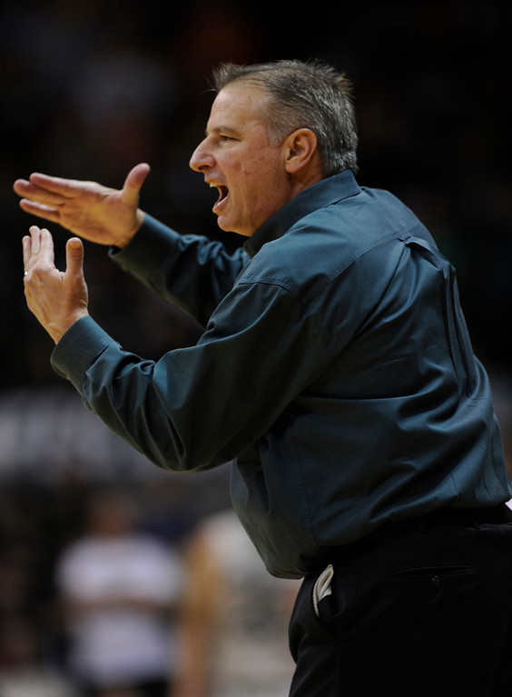. Rams coach Larry Eustachy called a time-out in the first half. The University of Colorado men\'s basketball team hosted Colorado State University inside the Coors Events Center Wednesday night, November 5, 2012. Karl Gehring/The Denver Post