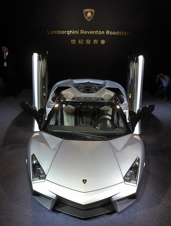 . A Lamborghini latest Reventon Roadster sports car is on display during an exhibition at the Taipei 101 department store on January 29, 2010.  The 6.5-liter engine\'s provided 670 horse power and 330 km per hour top speed. The local price is about 3,125,000 US dollars.  SAM YEH/AFP/Getty Images