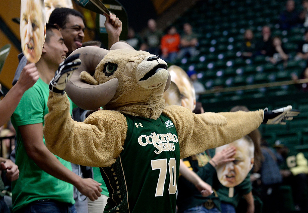 . CAM the CSU mascot gets the crowd going during an NCAA game against Colorado on Tuesday, Dec. 3, 2013, at the Moby Arena in Fort Collins. CU won the game 67-62.