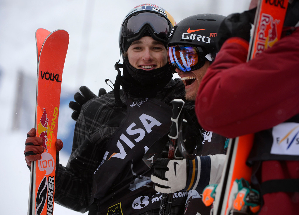 . U.S. Grand Prix slopestyle first place finisher, Andreas Haatveit, NOR, right, celebrates with second place finisher, Nicholas Goepper, left, at the Copper Mountain ski area Saturday afternoon, December 21, 2013. (Photo By Andy Cross / The Denver Post)