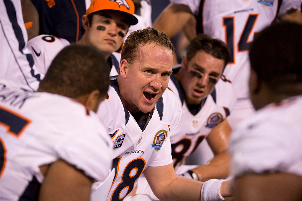 . Denver Broncos quarterback Peyton Manning (18) talks to the offensive line during the first quarter against the Oakland Raiders Thursday, December 6, 2012 during Thursday Night Football at O.c Coliseum in Oakland  John Leyba, The Denver Post